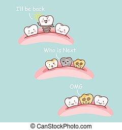 Cartoon dental implant