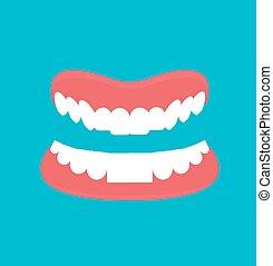 Cartoon Dental technology false teeth.