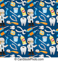 cartoon dentist tool seamless pattern