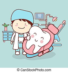 cartoon dentist or doctor with tooth sit on the chair and thumb up, great for dental care concept