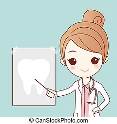 cartoon dentist with tooth ray - cute cartoon dentist doctor...