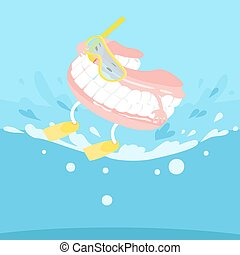 cartoon denture with surfing