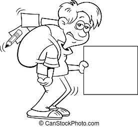 Cartoon depressed boy with a large backpack and holding a sign.