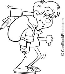 Cartoon depressed boy with a large backpack.