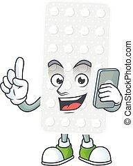 Cartoon design concept of pills talking on phone. Vector ...