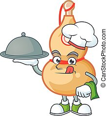 cartoon design of chinese wine bottle as a Chef having food on tray
