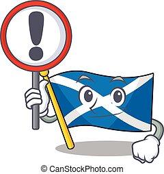Cartoon design of flag scotland Scroll raised up a sign