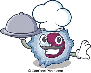 cartoon design of monocyte cell as a Chef having food on ...