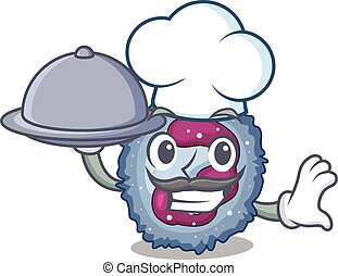 cartoon design of neutrophil cell as a Chef having food on ...