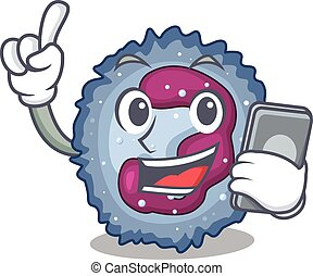 Cartoon design of neutrophil cell speaking on a phone. ...