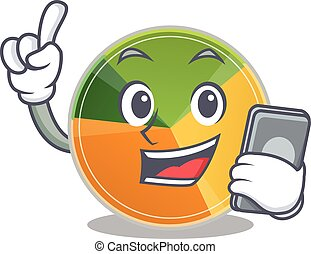 Cartoon design of pie chart speaking on a phone