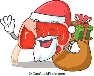Cartoon design of prime rib Santa having Christmas gift. ...
