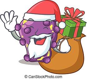 Cartoon design of shigella Santa with Christmas gift. Vector...