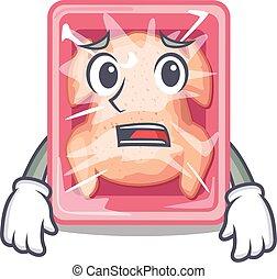 Cartoon design style of frozen chicken showing worried face