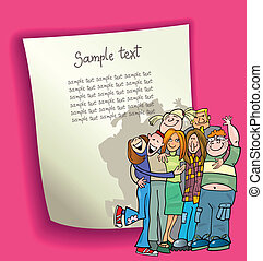cartoon design illustration with blank page and funny teenagers group