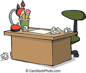 Cartoon designer table - Cartoon doodle designer table on a...