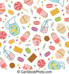 Cartoon desserts, sweets and drinks seamless pattern
