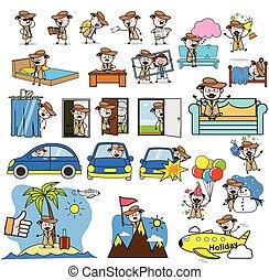 Cartoon Detective Agent Character - Set of Concepts Vector illustrations