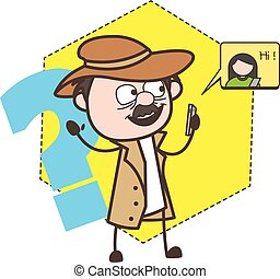 Cartoon Detective Chatting on Phone Vector Illustration