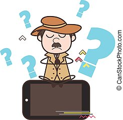 Cartoon Detective Doing Meditation Over Smartphone Vector ...