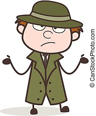 Cartoon Detective Don't Know What to Do Vector Illustration