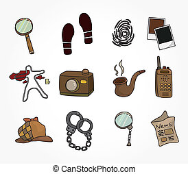 Cartoon detective equipment icon set