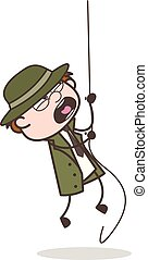 Cartoon Detective Falling Down from Rope Vector Illustration
