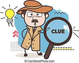 Cartoon Detective Got an Idea Vector Concept