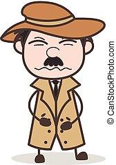 Cartoon Detective Having Pain in Stomach Vector Illustration