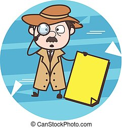 Cartoon Detective Holding a Banner Vector Illustration