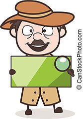 Cartoon Detective Holding Blank Banner Vector Illustration