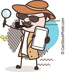 Cartoon Detective Inspector Showing a Mobile Vector ...