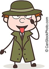 Cartoon Detective Making Funny Face Vector Illustration
