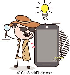 Cartoon Detective Presenting a Smartphone Vector ...
