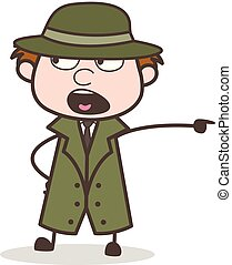 Cartoon Detective Shouting on Workers Vector Illustration