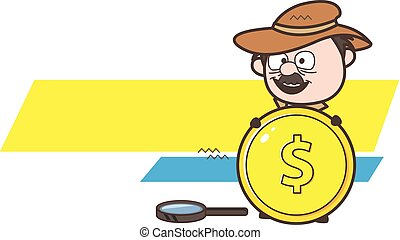 Cartoon Detective Showing a Gold Dollar Coin Vector ...