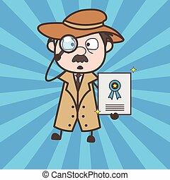 Cartoon Detective Showing Best Service Certificate Vector...