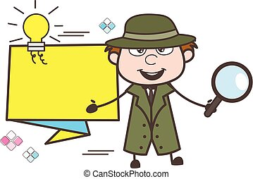 Cartoon Detective Showing Idea Banner Vector Illustration