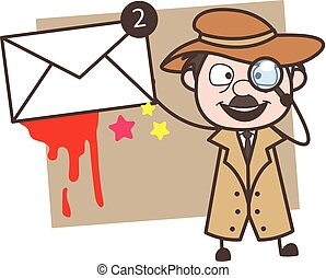 Cartoon Detective Showing Message Vector Illustration
