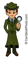 Cartoon detective holding magnifying glass