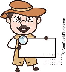 Cartoon Detective with Announcement Banner Vector ...