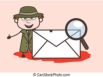 Cartoon Detective with Envelope and Magnifier Vector ...