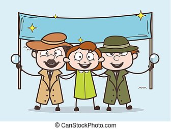 Cartoon Detective with Happy Girl and Banner Vector ...