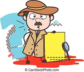 Cartoon Detective with Message Board Vector Illustration