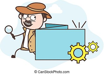 Cartoon Detective with Processing Banner Vector Illustration