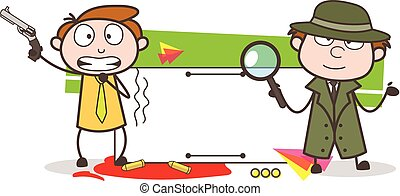 Cartoon Detective with Scared Boy Holding a Gun Vector ...