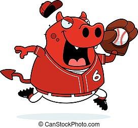 Cartoon Devil Baseball