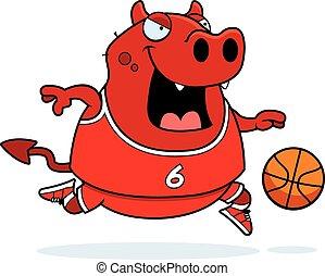 Cartoon Devil Basketball