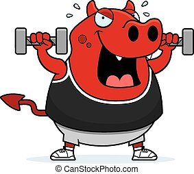 Cartoon Devil Dumbbells
