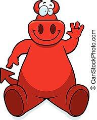 Cartoon Devil Sitting